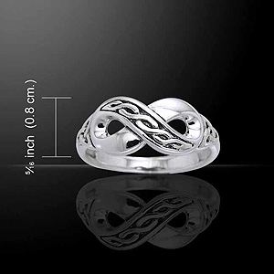 Infinity Theme Celtic Silver Ring (Size Selectable)