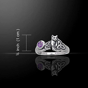 Magical Celtic Cat Silver Ring (with Emerald Glass)