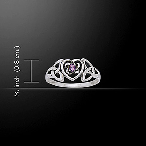 Silver Celtic Heart Birthstone Ring