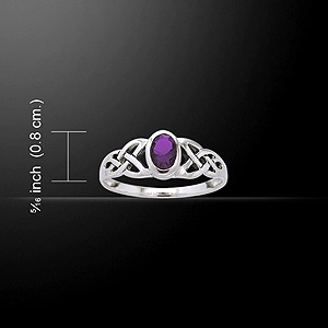 Silver Celtic Knotwork Birthstone Ring