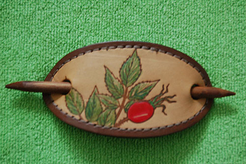 Hand Painted Leather Hair Clip