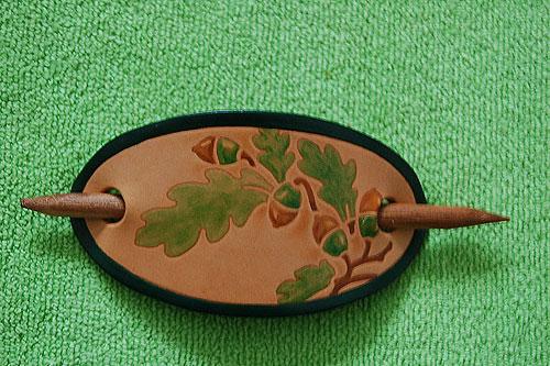 Fuchsia Hand Painted Hair Clip (Irish Leather)