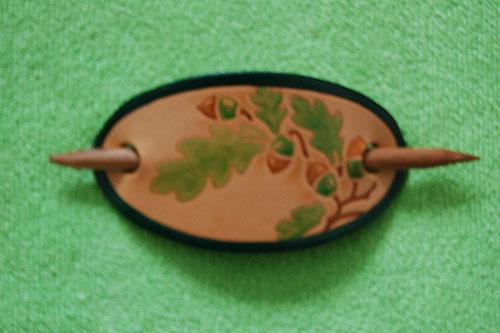 Leather Hair Clip Fuchsia (Handpainted)