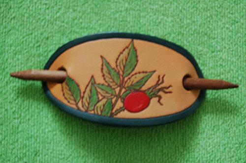 Leather Fuchsia Irish Hair Clip (Handpainted)