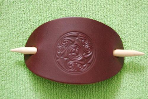 Celtic Motif Irish Leather (Hair Clip)