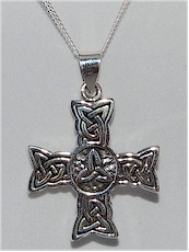 Trinity Knot Irish Silver Celtic Cross