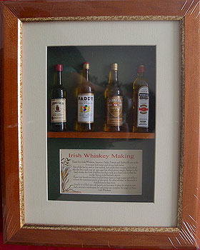 Irish Whiskey Miniature Beer Bottle Collection (Framed, Jameson etc)