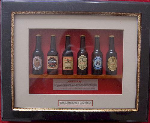 Guinness Irish Miniature Beer Bottle Collection (Framed)