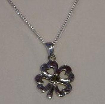 Lucky Four Leaf Clover Silver  & (Connemara Marble Pendant)