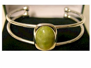 Silver Plated Gemstone Bangle