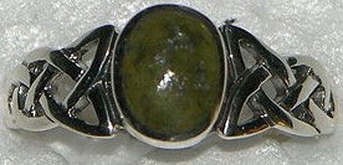 Silver Connemara Marble Celtic Ring