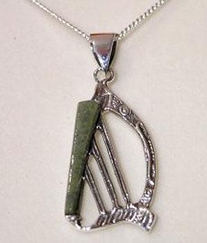 Harp Pendant Connemara Marble (& Sterling Silver)