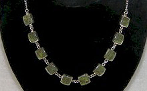 10 Stone Square Necklace on Silver Chain (Irish Connemara Marble)