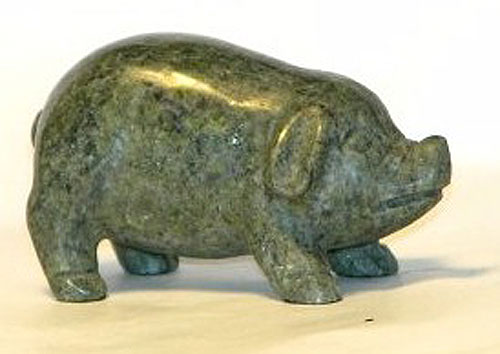 Irish Hand Carved Pig