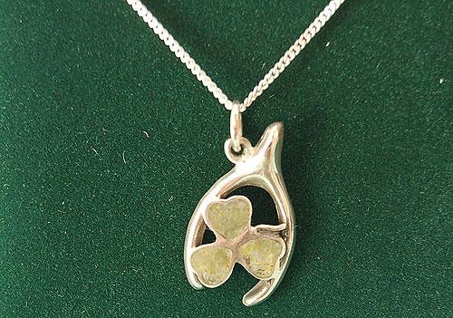 Wishbone Shamrock Connemara Marble Pendant (Sterling Silver)