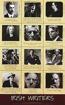 Famous Irish Writers Large Poster (by Liam Blake)
