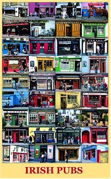 Famous Irish Pubs Large Poster by