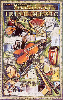 Traditional Irish Music Montage Poster