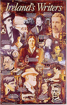 Irish Writers Colourful Superb Poster Joyce Wilde etc