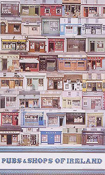 Irish Pubs and Shops Large Colourful Poster