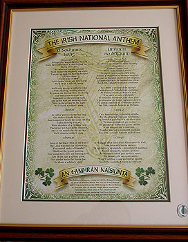 Irish National Anthem Celtic Style FRAMED