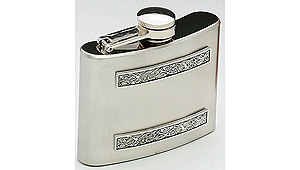 4oz Celtic Strip Pewter Whiskey Flask