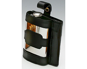Black Leather Narrow Whiskey Flask (4oz - made from pewter)