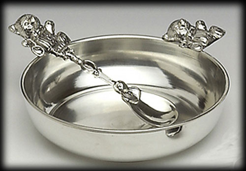 Pewter Baby Dish and Spoon Set
