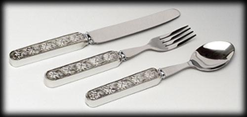 Shamrock Baby Pewter Cutlery Set (Fork, Knife & Spoon)