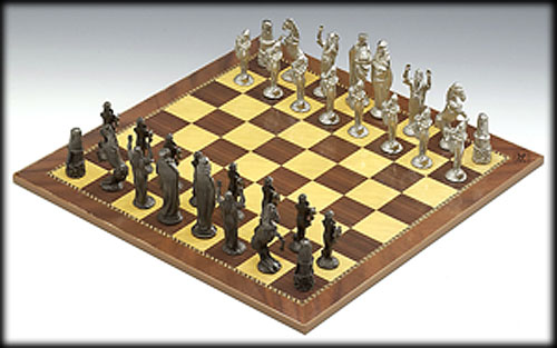 Luxury Pewter Chess Board & Pieces