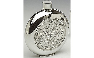 Celtic Pattern Whiskey Flask (6oz - Made by Mullingar Pewter)