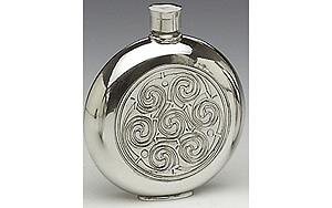 Celtic Spirals Pewter Whiskey Flask