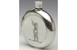 Shamrock Pewter Whiskey Flask