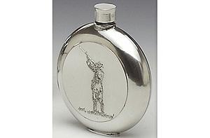 Shamrock Pewter Whiskey Flask (6oz - Made in Ireland)