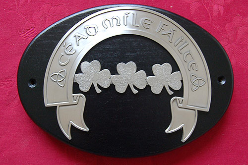 Shamrock Cead Mile Fáilte Wall Plaque (by Mullingar Pewter)