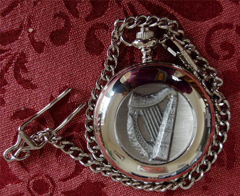 Irish Celtic HARP Pewter POCKET WATCH