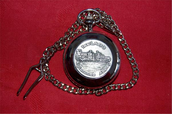 KYLEMORE ABBEY - Irish Made Pewter POCKET WATCH (by Mullingar Pewter)