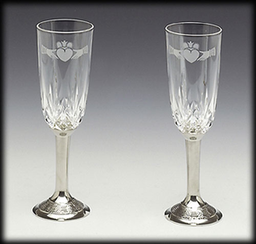 """Crystal & Pewter Wedding Flute Set (8.5"""" inches high)"""