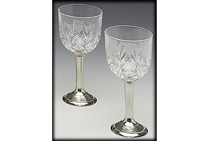 Pewter Crystal Red Wine Set