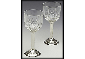 Pewter Crystal White Wine Set