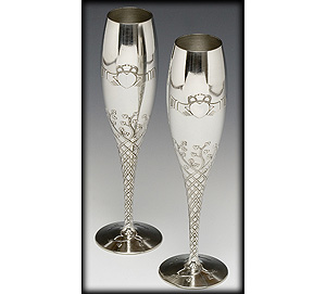 """Pewter Champagne Flute Set Claddagh (8.5"""" inches high)"""