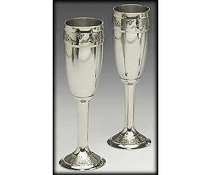 """Pewter Champagne Flute Set Celtic (8"""" inches high)"""