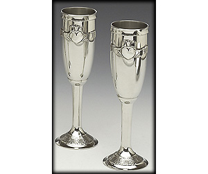 """Pewter Champagne Flute Set Claddagh (8"""" inches high)"""