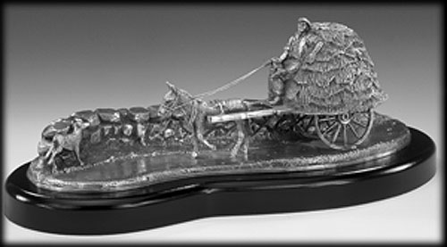Irish Horse & Cart Pewter Sculpture