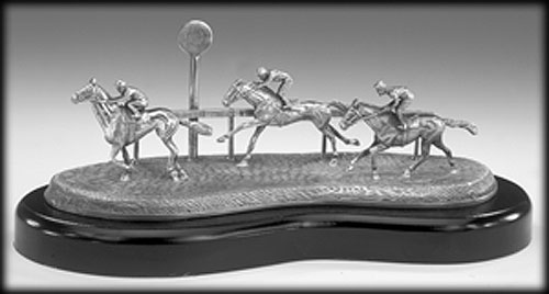 Horse Racing Pewter Sculpture