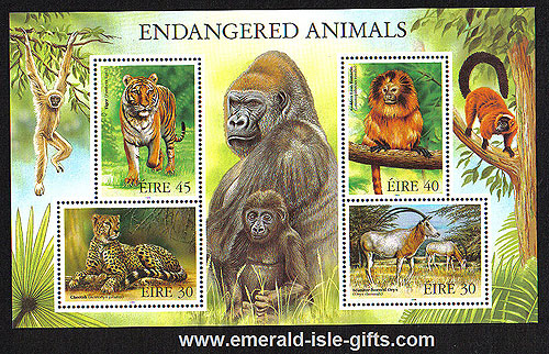 Ireland 1998 Endangered Animals Miniature Sheet Mnh