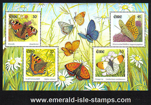 Ireland 2000 Butterflies Min Sheet Mnh Scarce