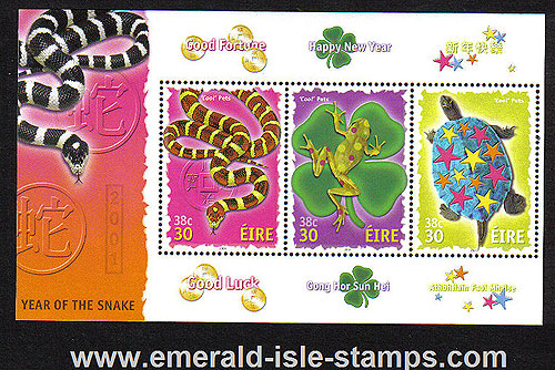 Ireland 2001 Chinese Year Of The Snake Min Sht Mnh Rare
