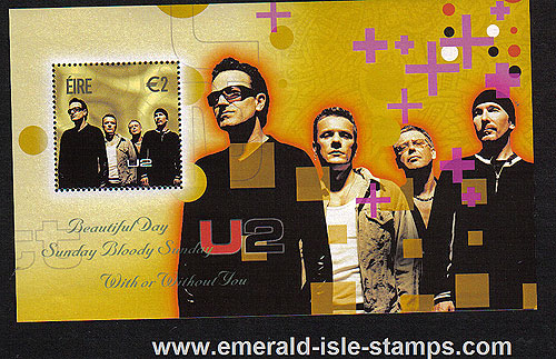 Ireland 2002 U2 Bono The Edge Miniature Sheet Mnh