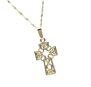 14K Gold Cross Pendant Irish Handcrafted